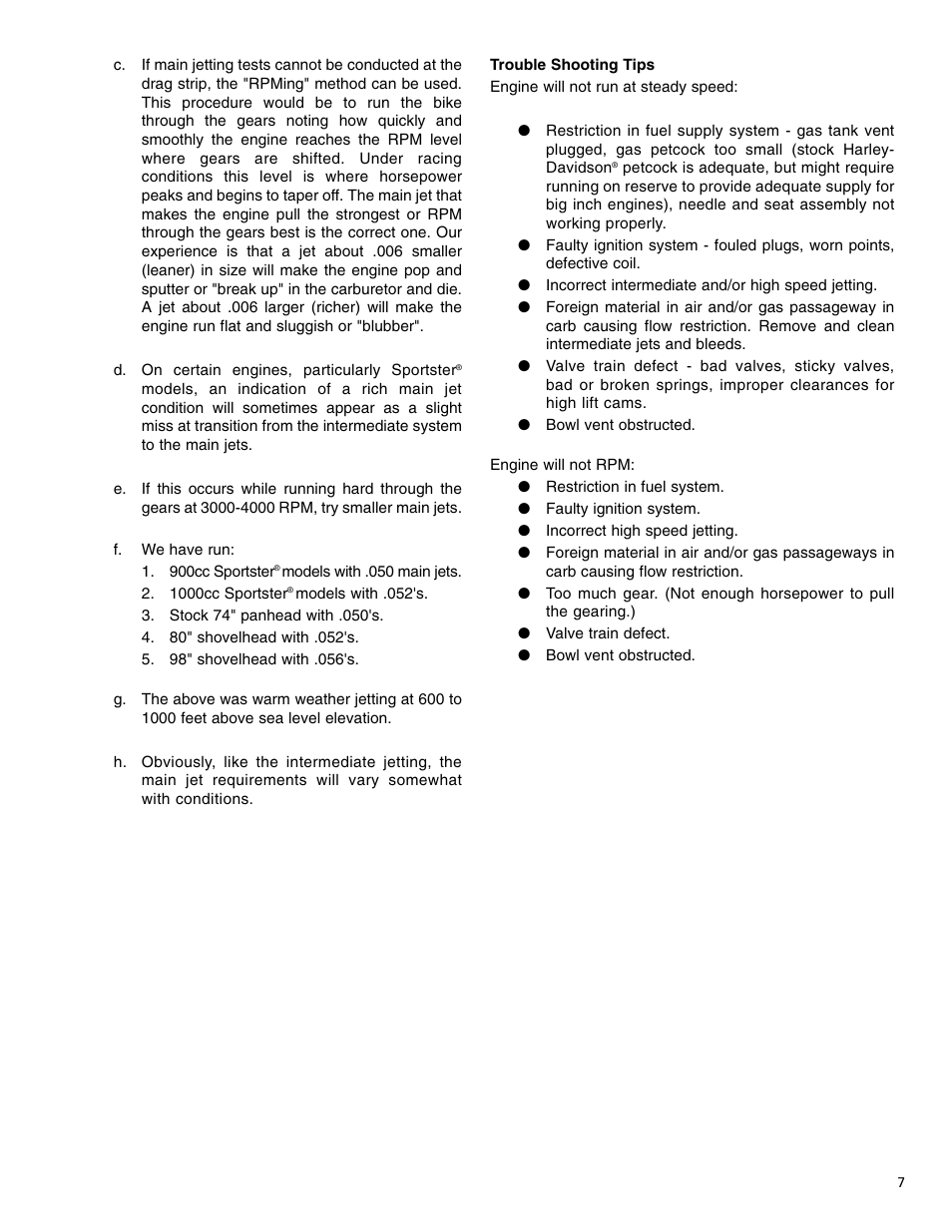 S&S Cycle TWO THROAT Carburetor (Serial E1190 & Higher) User Manual