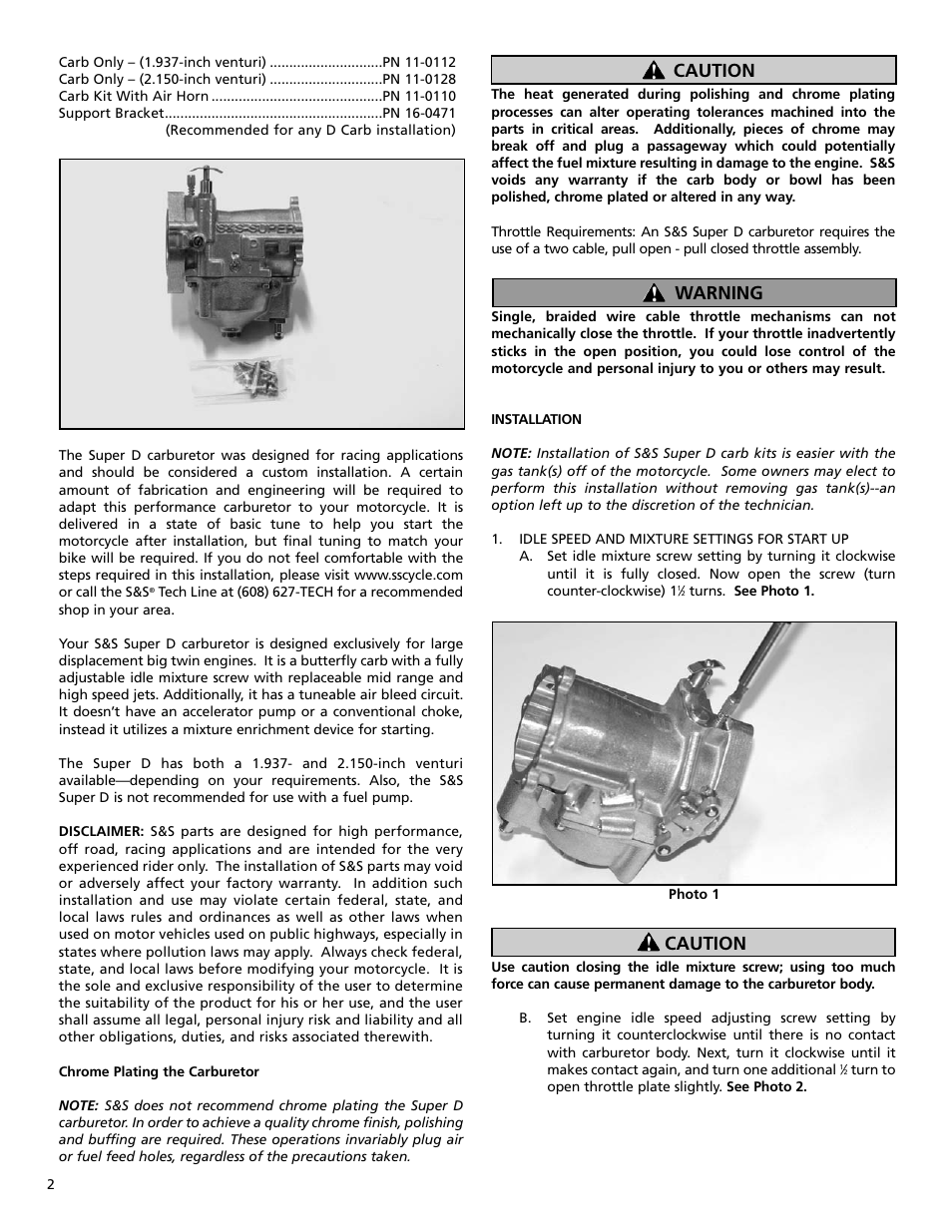 Warning Caution Ss Cycle Super D Gasoline Carburetor Air Screw Adjusts The Amount Of To Idle Circuit 1 4 User Manual Page 2 8