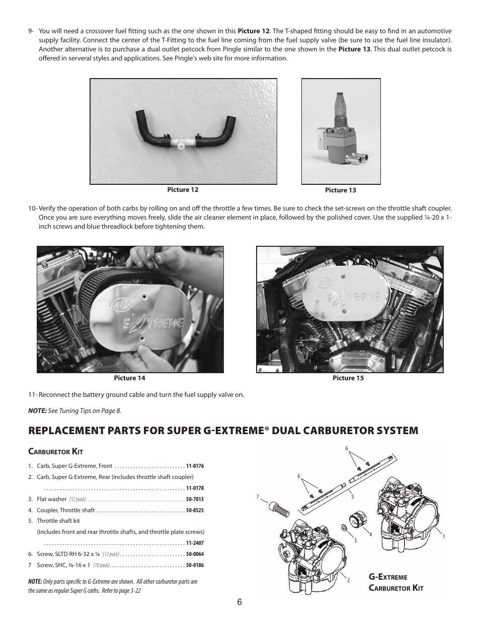 S&S Cycle G-Extreme Dual Carb Kit User Manual | Page 6 / 8