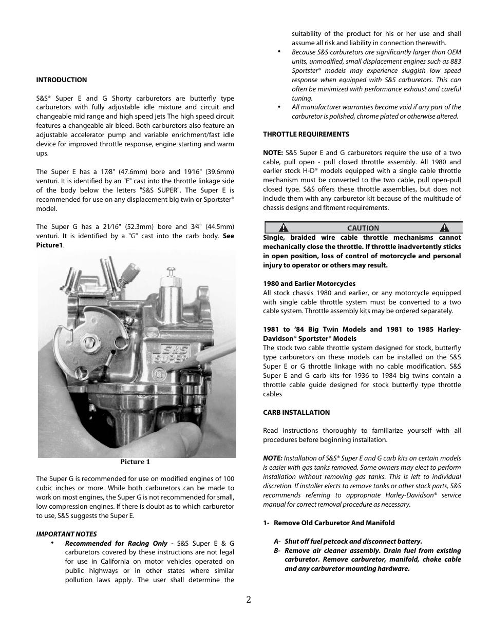 s s cycle super e and g series shorty performance carburetors for rh manualsdir com