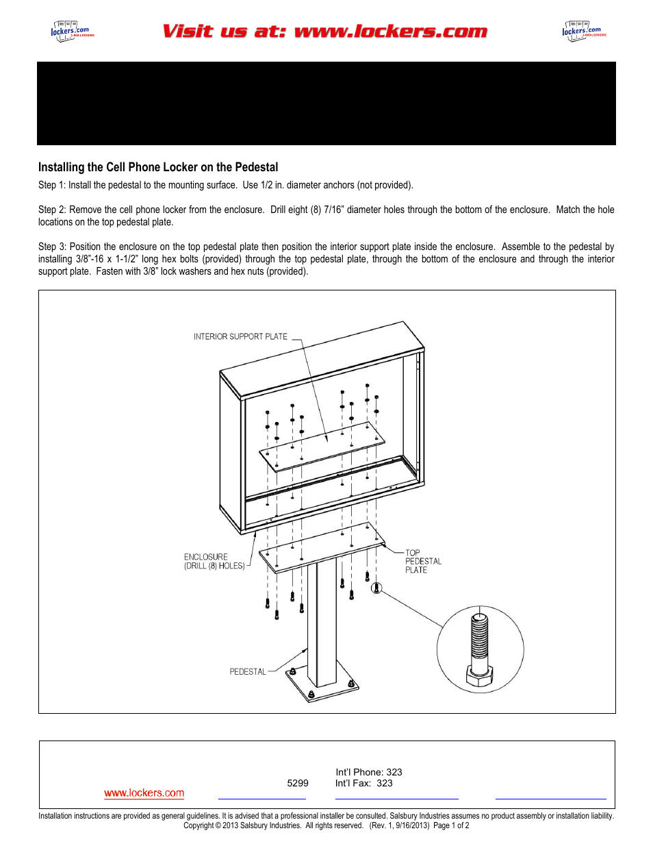 Salsbury Industries Cell Phone Locker Pedestal For Select 19000