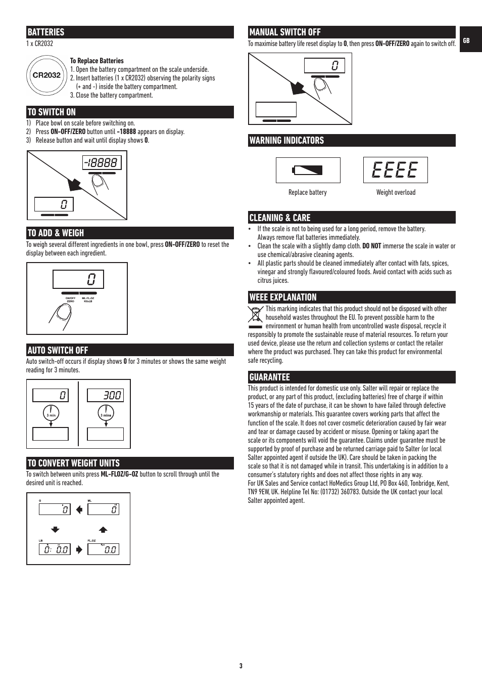 Batteries Auto Switch Off Manual Switch Off Salter