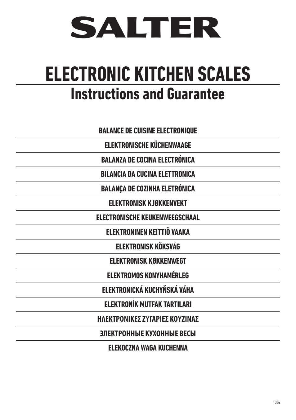 Salter 1004 Ssdr Stainless Steel Electronic Kitchen Scale User