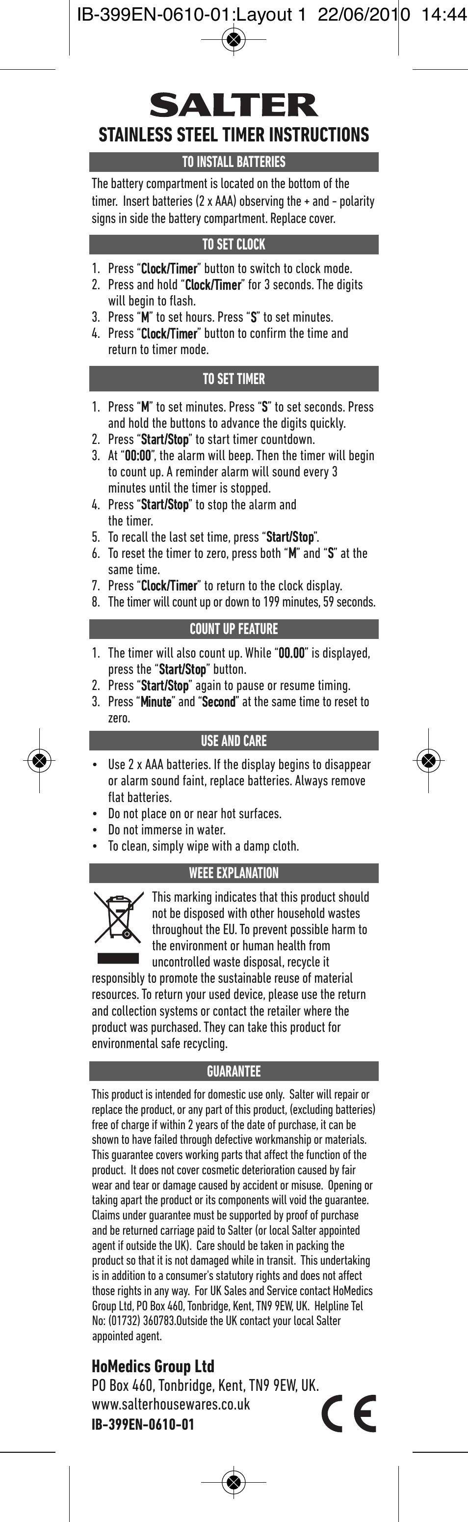 salter clock timer instructions