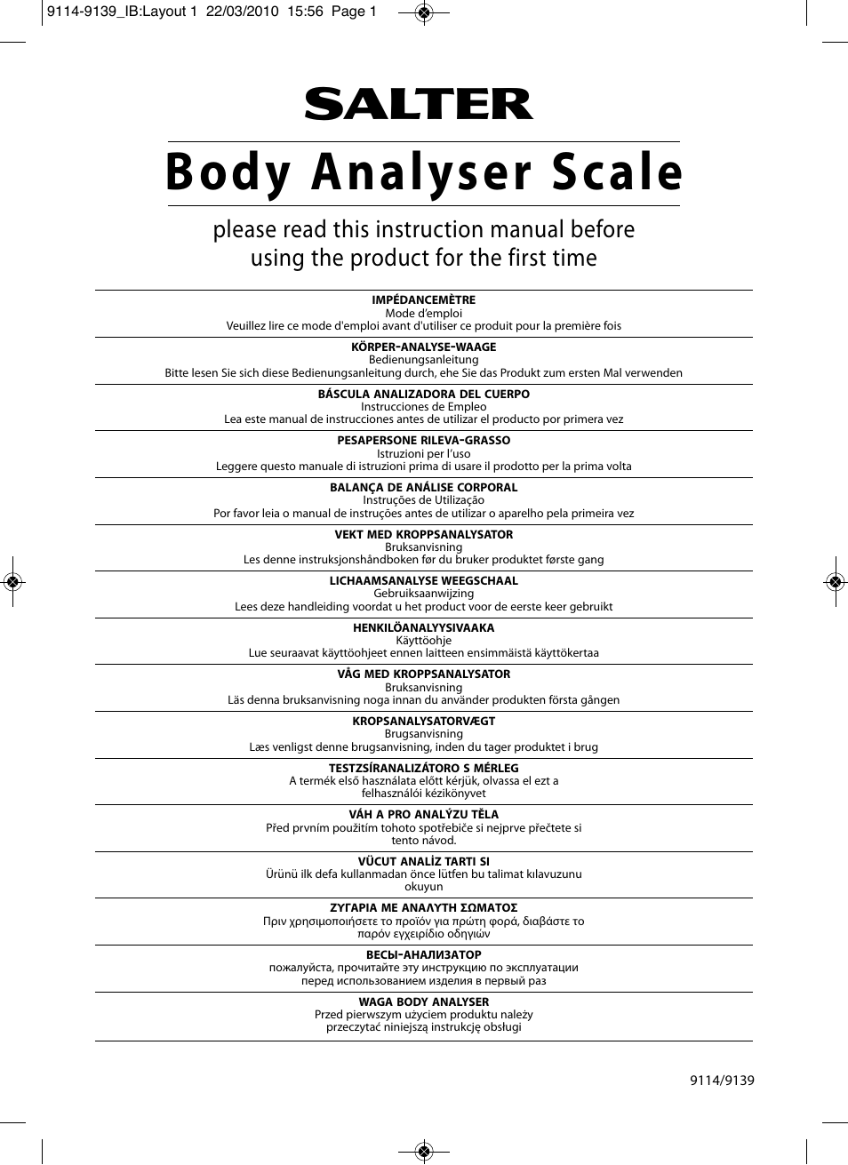 Salter 9139 Wh3r Compact Analyser Scale User Manual 140 Pages