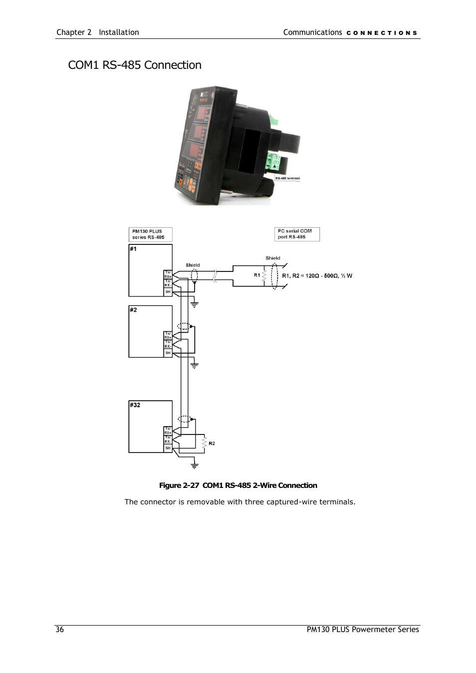 Com1 rs-485 connection | SATEC PM130 PLUS Manual User Manual | Page 36 / 159