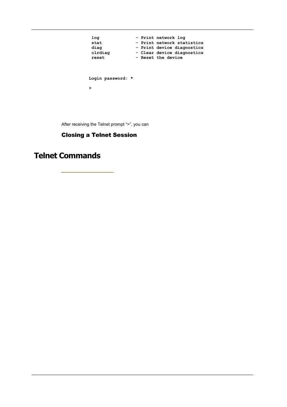 Closing a telnet session, Telnet commands | SATEC PM180