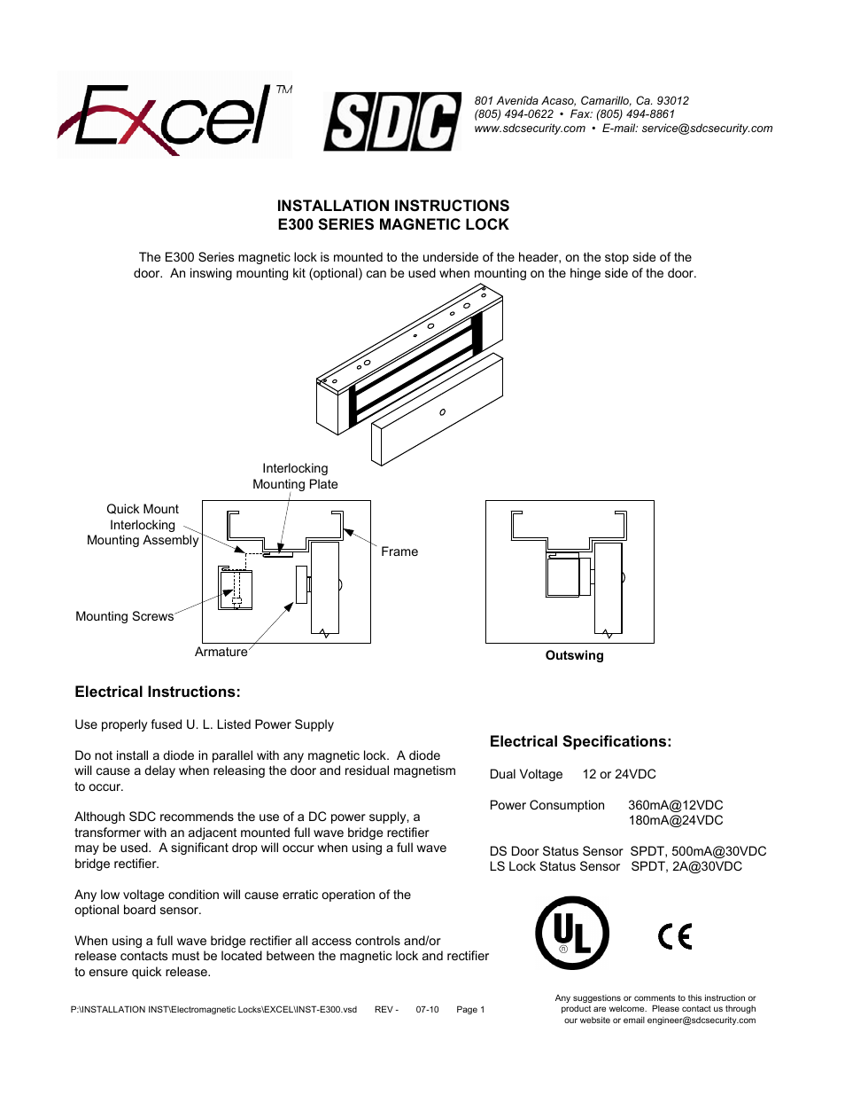 Sdc E300 Series Magnetic Lock User Manual 4 Pages Full Wave Bridge Rectifier