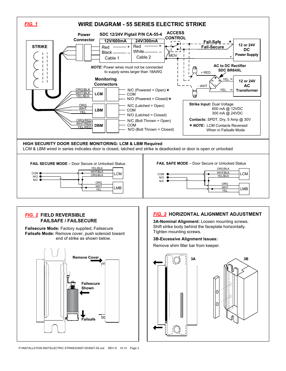 Wire Diagram 55 Series Electric Strike Sdc 24v Rectifier Wiring User Manual