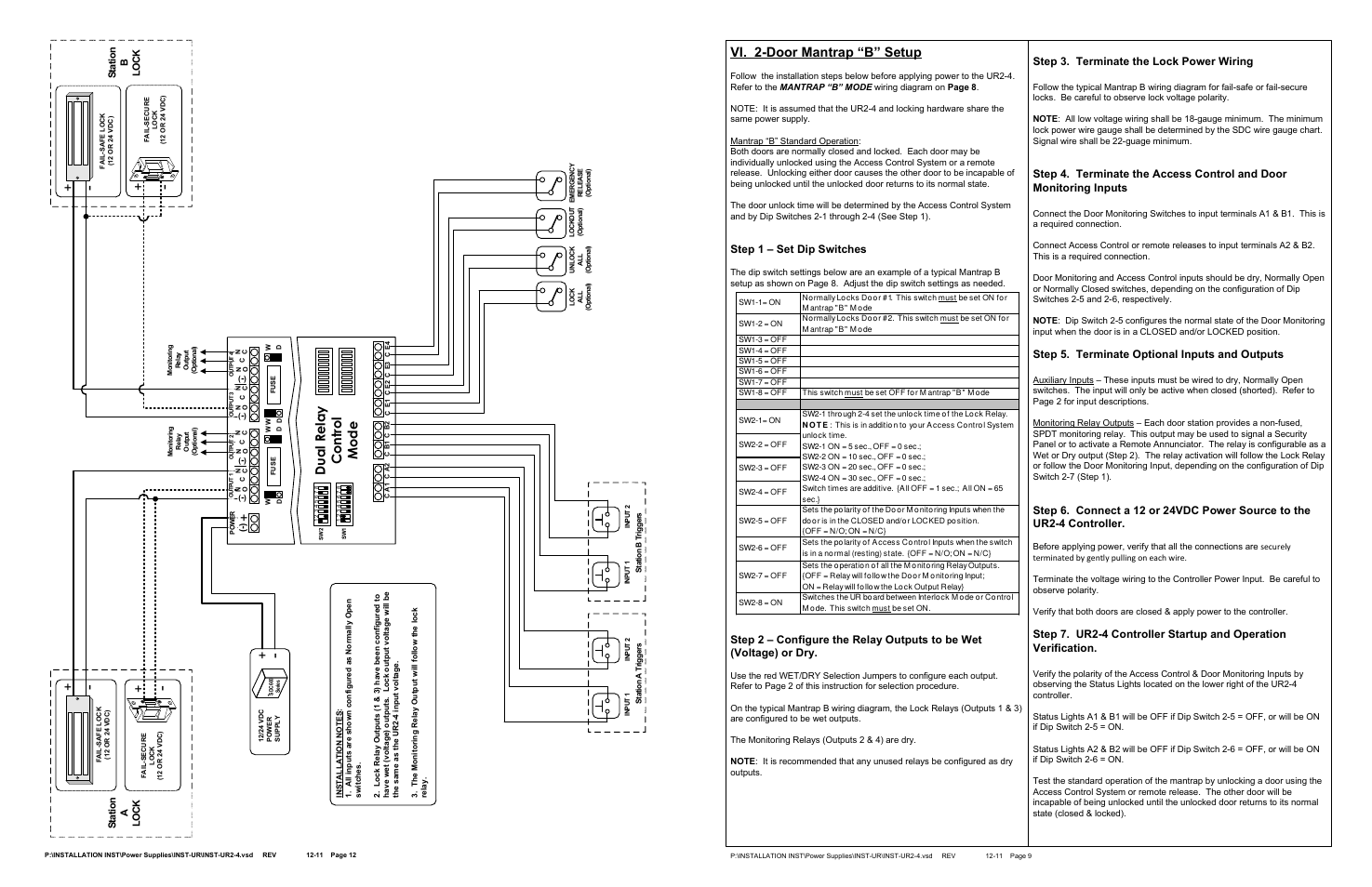 "wiring diagram spdt dip switch configuration wiring library 2 door mantrap ""b"" setup step 1 set dip switches"
