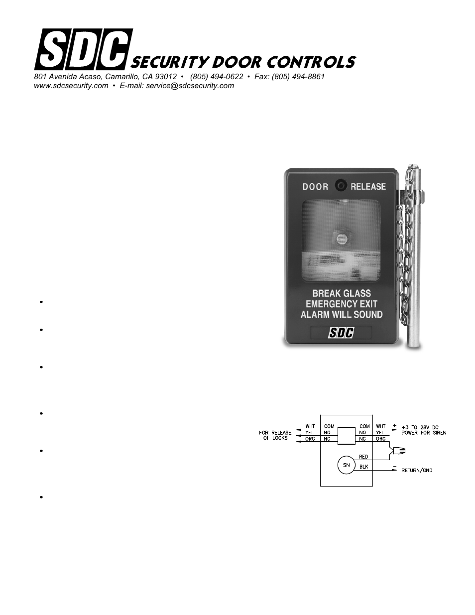 Sdc 491 Emergency Door Release User Manual 2 Pages Electronic