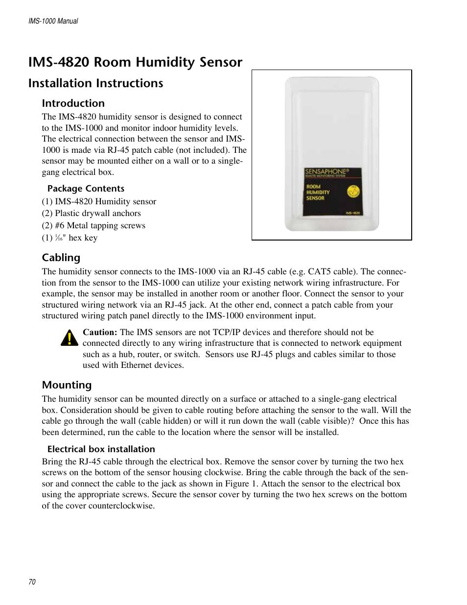 Ims-4820 room humidity sensor, Installation instructions | Sensaphone  IMS-1000 Users manual User Manual | Page 70 / 114
