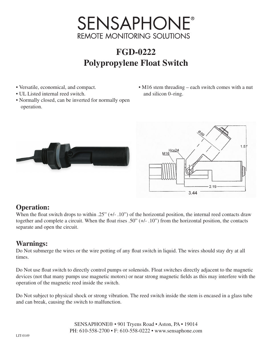 Sensaphone Fgd 0222 Polypropylene Float Switch User Manual 1 Page Magnetic Reed Wiring Diagram