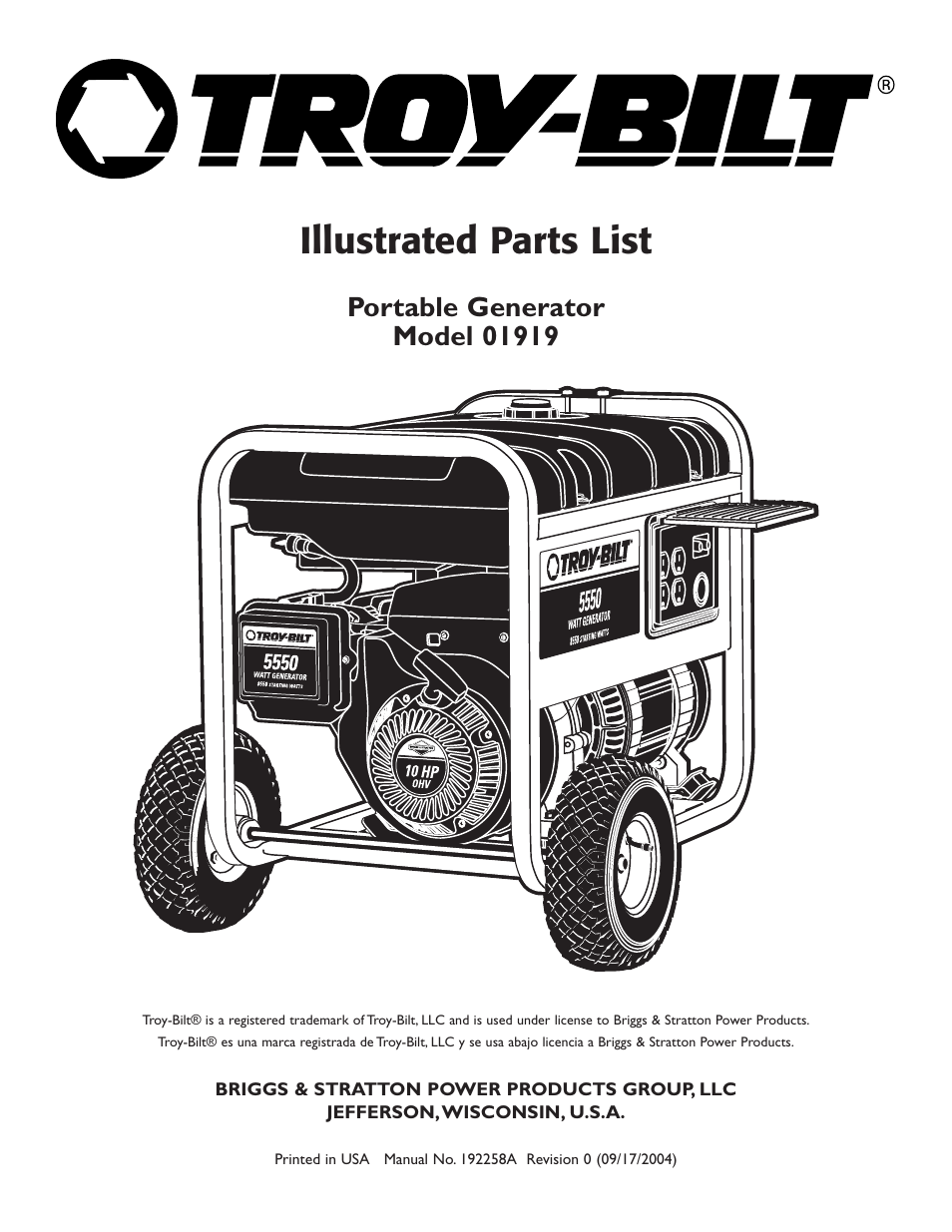 Troy Bilt 5550 Generator Parts Diagram Diy Enthusiasts Wiring 1 And List For Craftsman Generatorparts Model 01919 User Manual 6 Pages Rh Manualsdir Com Snow Blower 5500