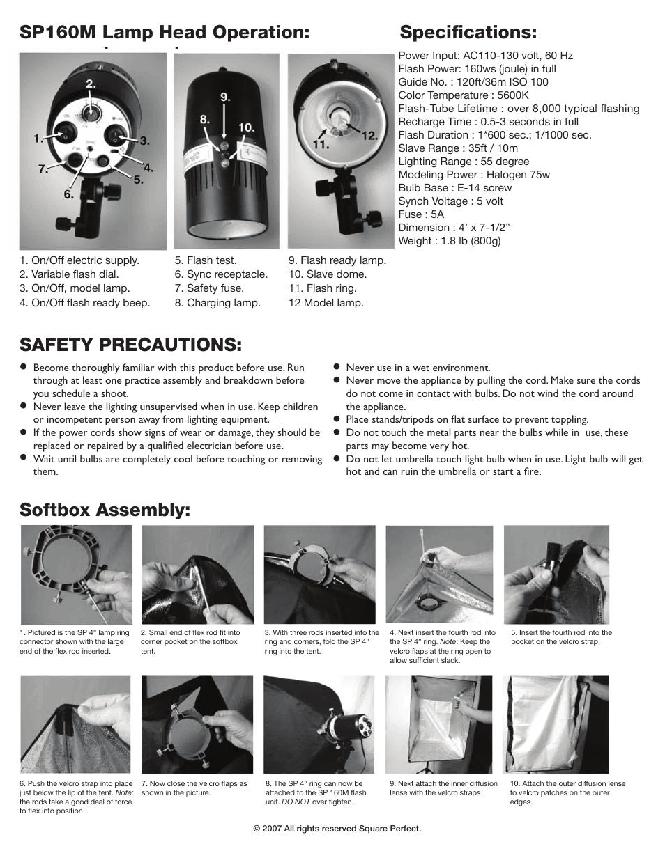 Square Perfect 1002 SP160M Studio Flash Kit User Manual | Page 4 / 5