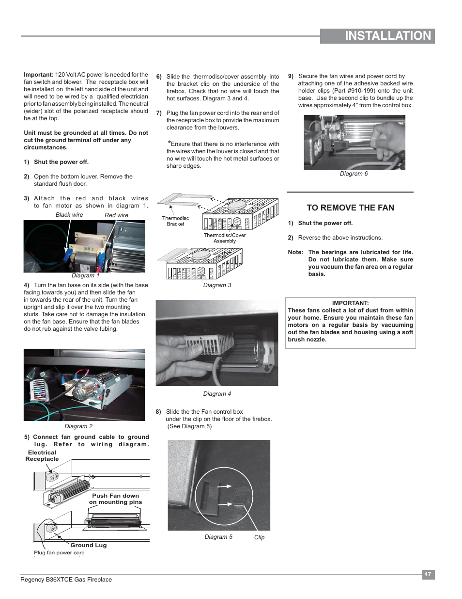 Installation Optional Fan Regency Bellavista B36xtce Gas Fireplace Wiring Diagram Medium User Manual Page 47 72