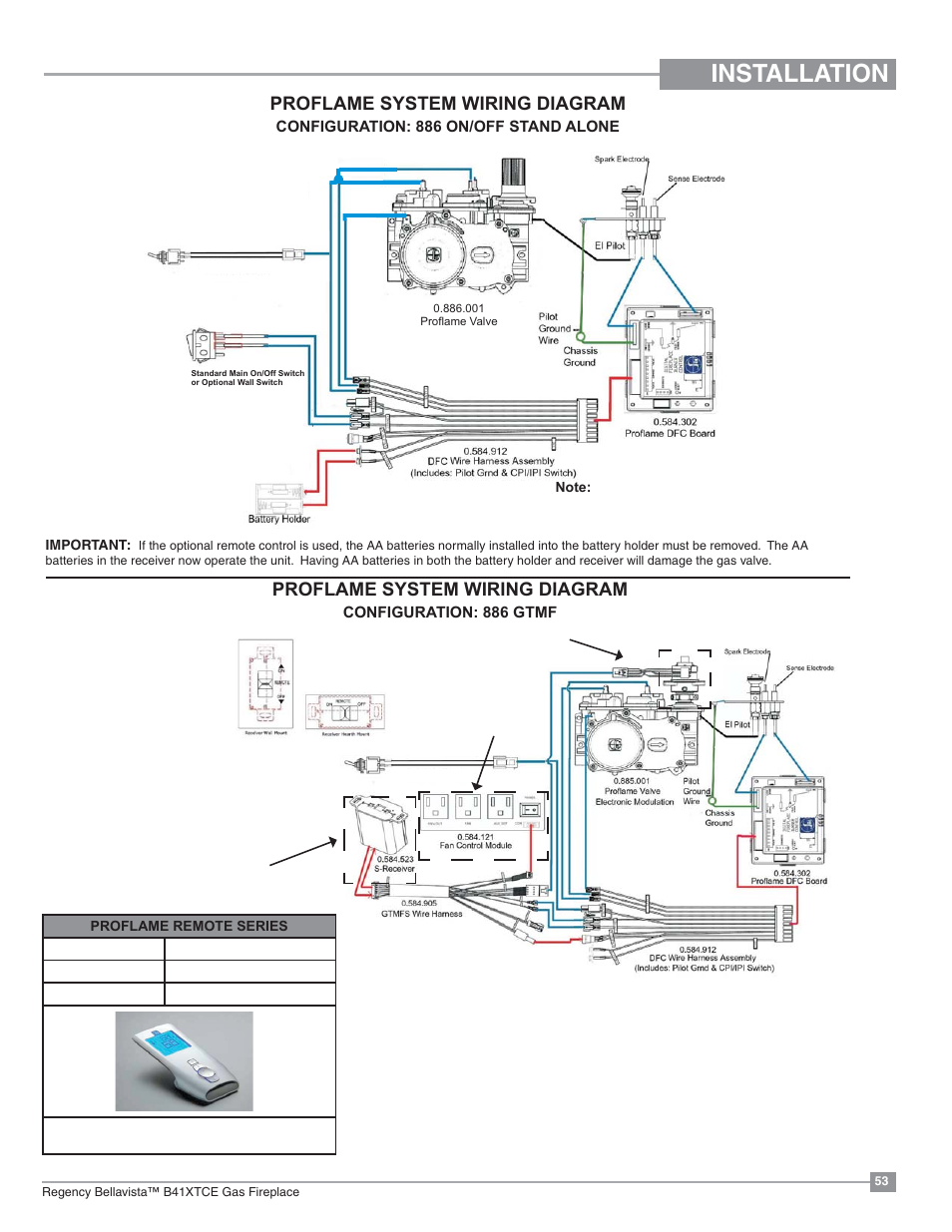 wrg 1056] 886 wiring diagraminstallation, proflame system wiring diagram regency bellavista b41xtce large gas fireplace user manual