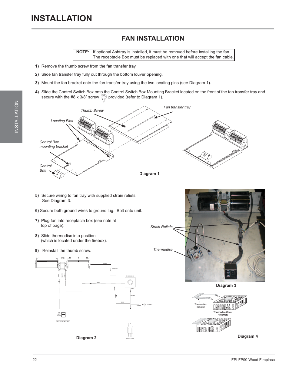 Installation, Fp90, Fan installation | Regency Excalibur EX90 Large Wood  Fireplace (US Edition) User Manual | Page 22 / 36