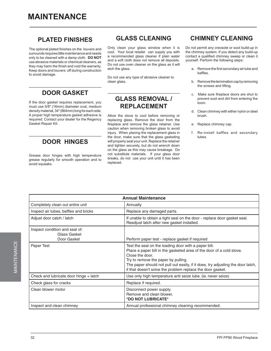 Maintenance Plated Finishes Door Gasket Regency Excalibur Ex90