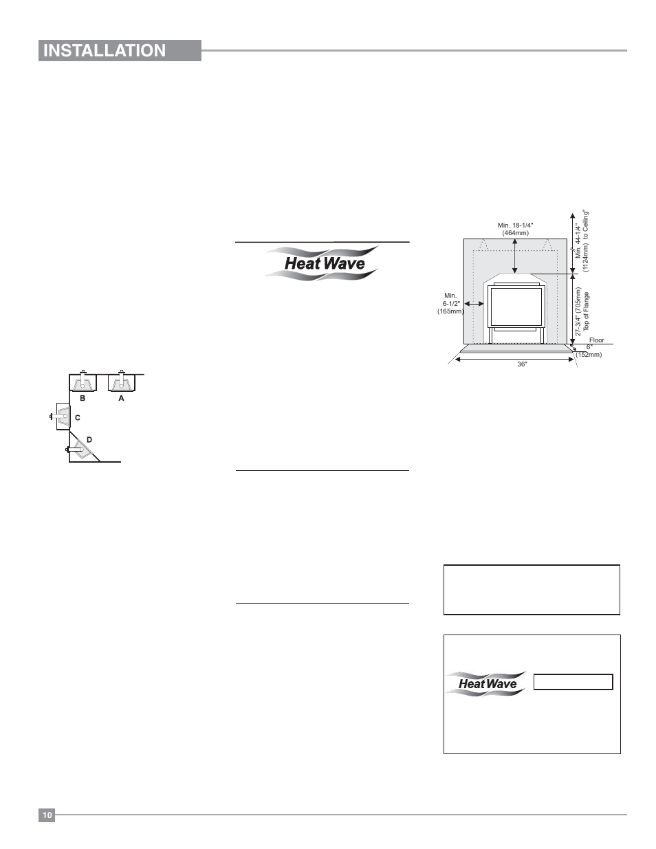 Installation Clearances Gas Fireplace Regency Excalibur P90 Wiring Diagram 2 Medium User Manual Page 10 56