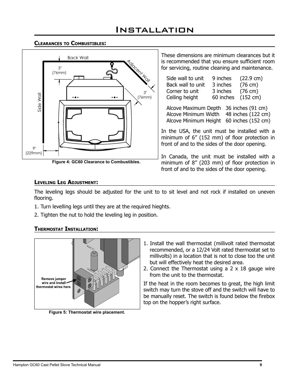 Installation | Regency Hampton GC60 Large Pellet Stove TECHNICAL MANUAL  User Manual | Page 9 / 32