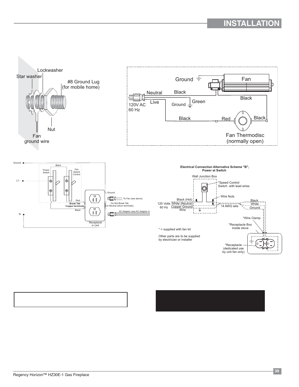 Installation, Optional fan wiring diagram, Without proflame gtmf system |  Regency Horizon HZ30E Small Gas Fireplace User Manual | Page 39 / 64