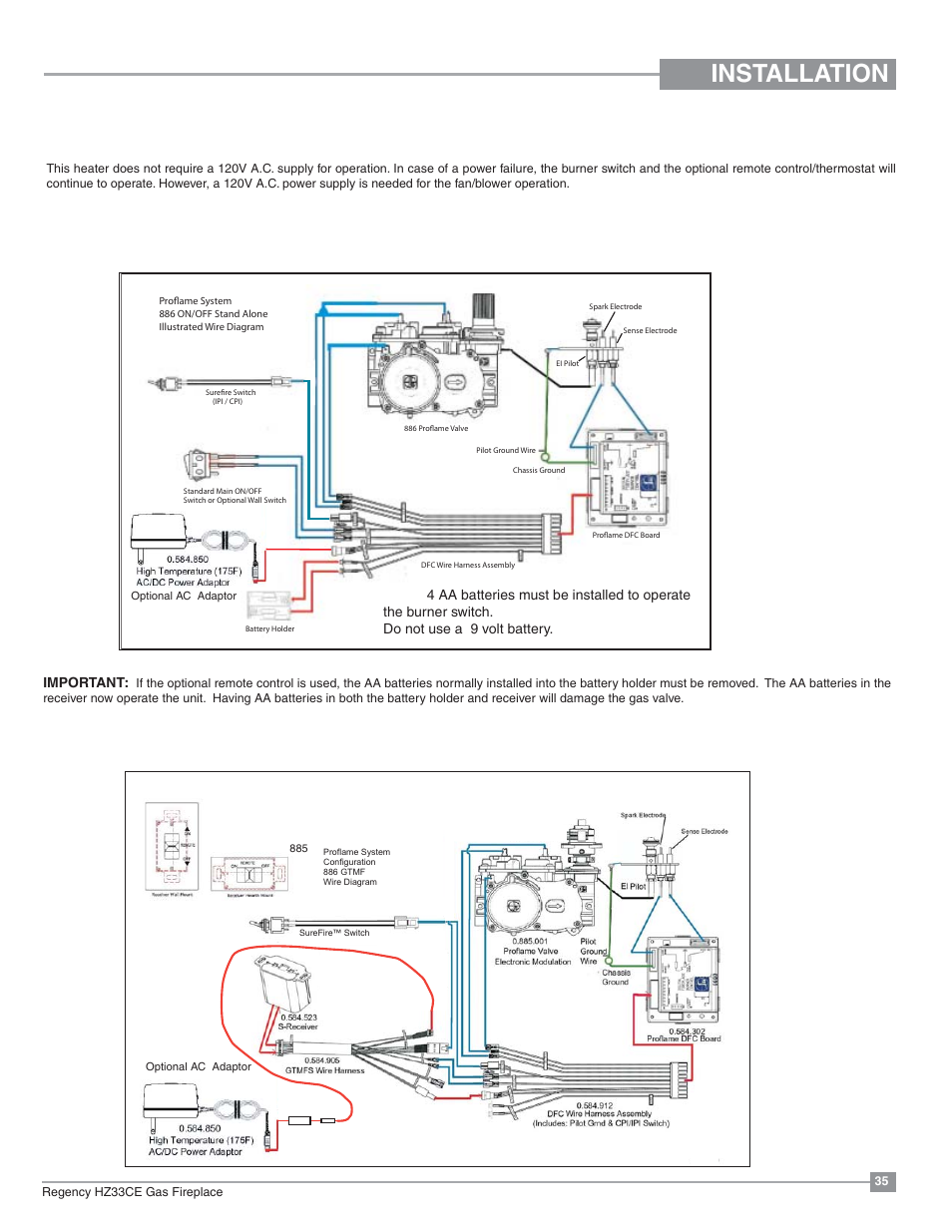 wrg 8765] 886 wiring diagraminstallation, wiring diagrams, proflame system gt regency horizon hz33ce small gas fireplace user
