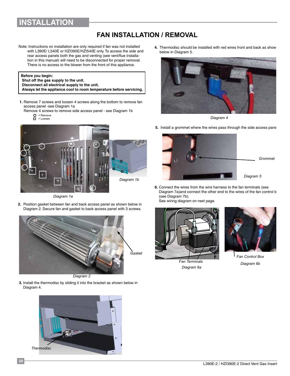 Installation Fan Removal Regency Liberty L390eb Access Wiring Diagram Medium Gas Insert User Manual Page 20 60