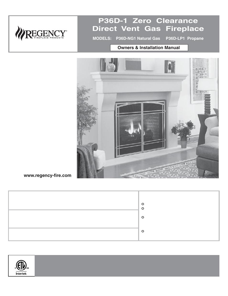 Regency Panorama P36d Medium Gas Fireplace User Manual