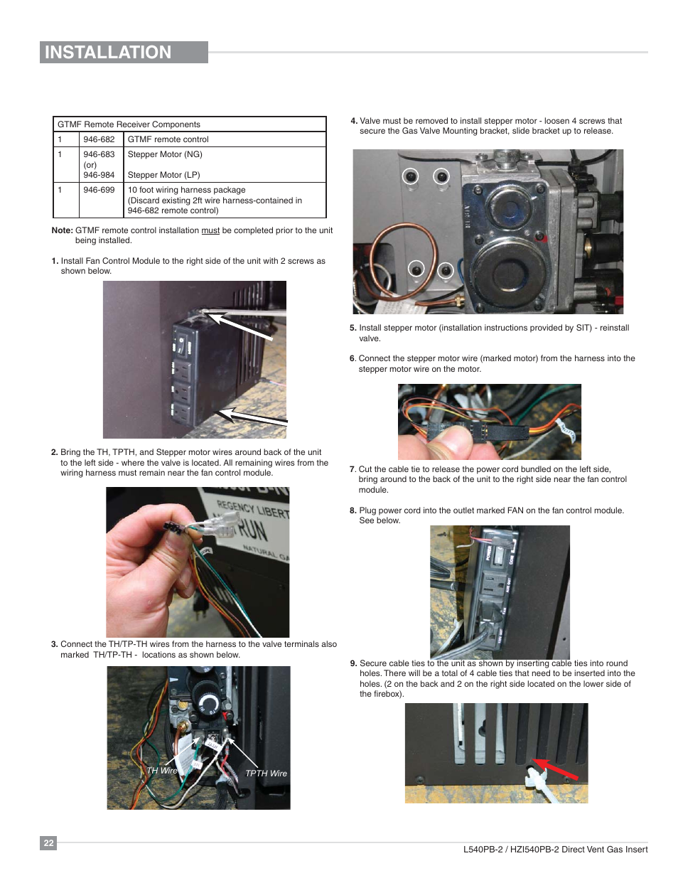 Installation Gtmf Remote Control Regency Horizon Wire Harness Ties Hzi540pb Large Gas Insert User Manual Page 22 56