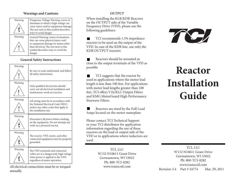 TCI Reactor User Manual | 2 pages