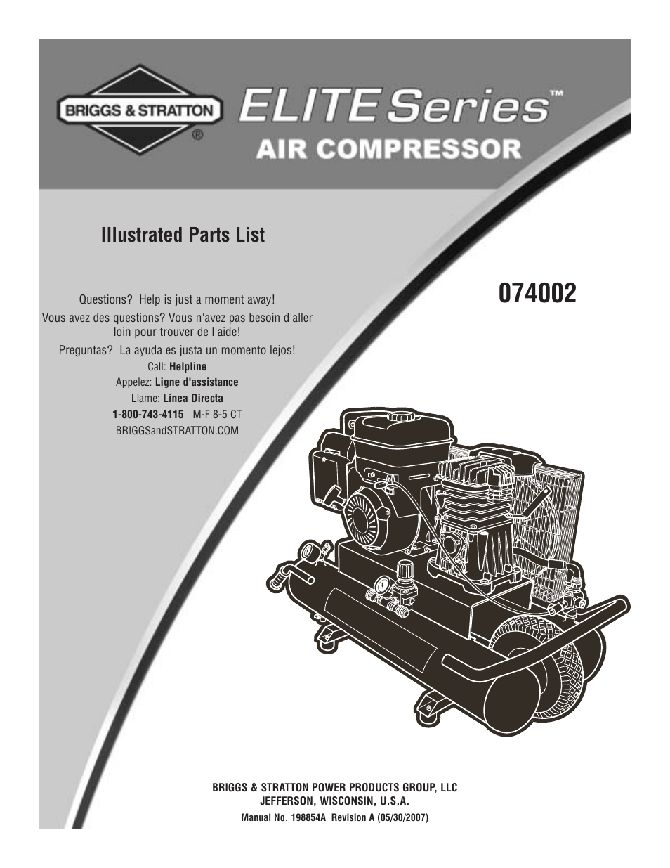 Briggs Stratton 074002 User Manual 3 Pages And Engine Diagram Parts List For