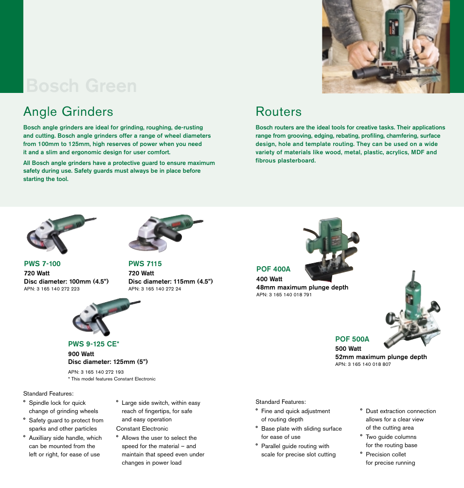 Bosch green, Routers, Angle grinders | Bosch cordless drills User Manual |  Page 6 / 8