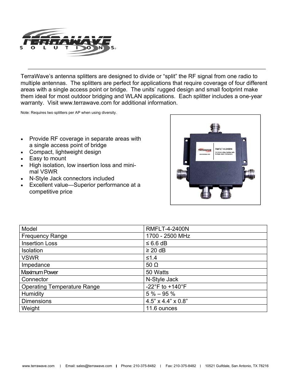 TerraWave RMFLT-4-2400N User Manual   1 page