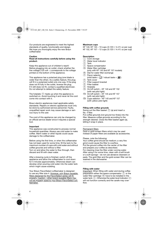 Braun KF 145 User Manual   Page 4 / 18