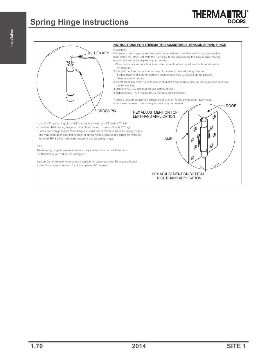 Spring hinge instructions | Therma-Tru Doors Installation User Manual | Page 70 / 76  sc 1 st  manualsdir.com & Spring hinge instructions | Therma-Tru Doors Installation User ...