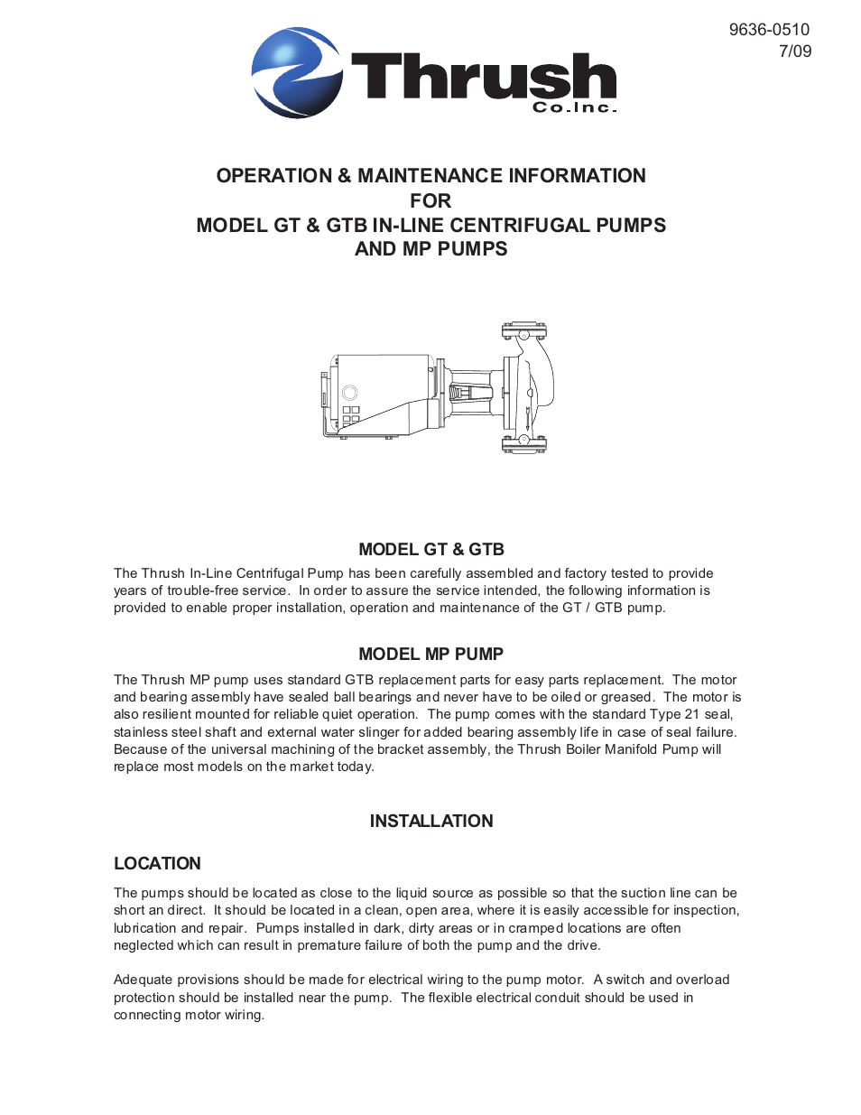 Thrush Mp User Manual 4 Pages Also For Gtb Gt Centrifugal Motor Wiring