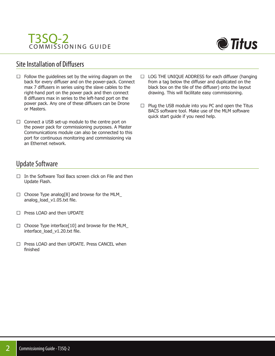 T3sq-2, Update software | Titus T3SQ-2 Commissioning Guide User Manual |  Page 2 / 4