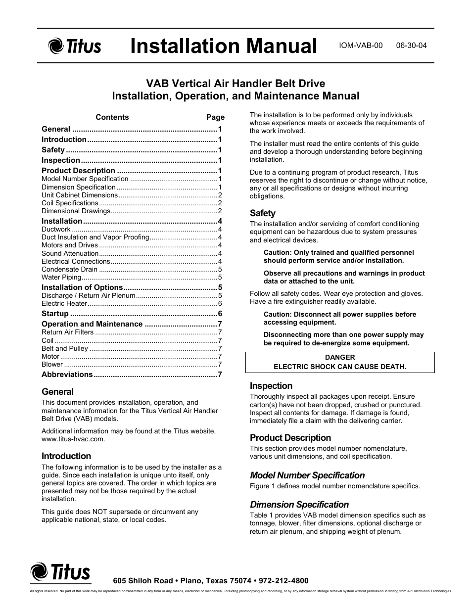 Titus VAB IOM User Manual | 9 pages