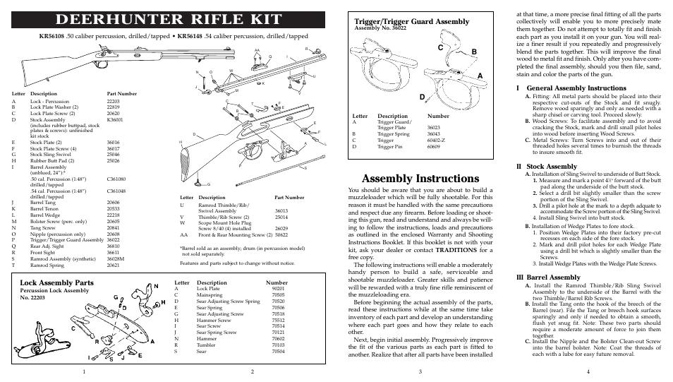 Deerhunter Rifle Kit Assembly Instructions Lock Assembly