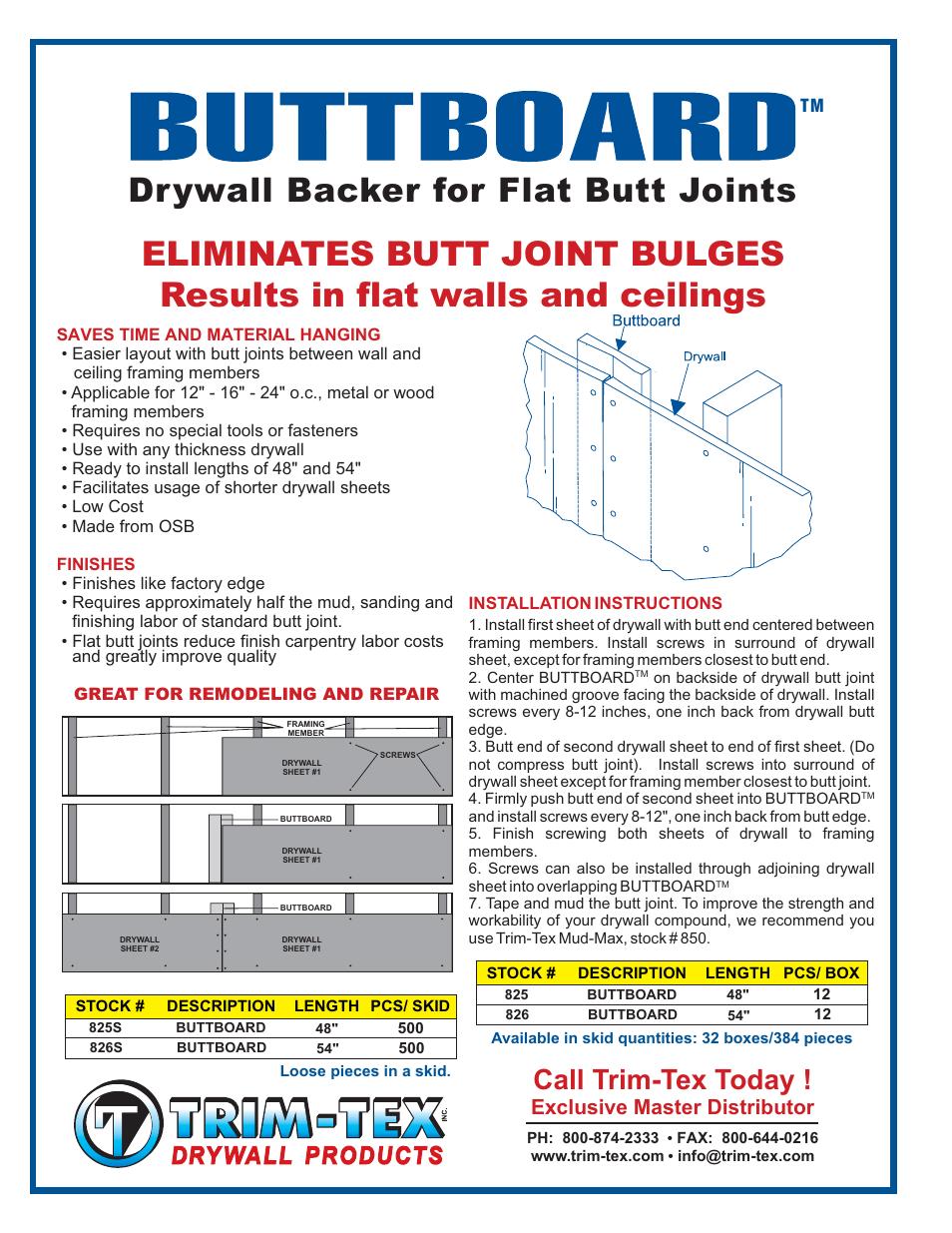 Trim Tex Buttboard User Manual 1 Page