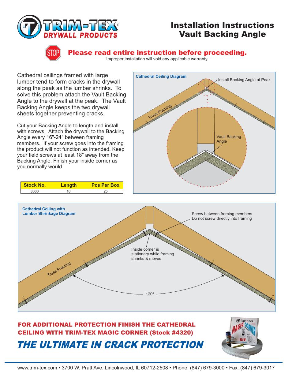 Trim-Tex Vault Backing Angle User Manual | 1 page