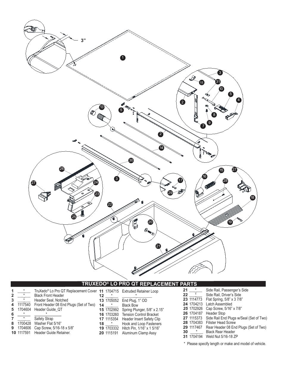 Truxedo Lo Pro Qt >> Truxedo, Lo pro qt replacement parts | TruXedo Lo Pro QT User Manual | Page 4 / 4