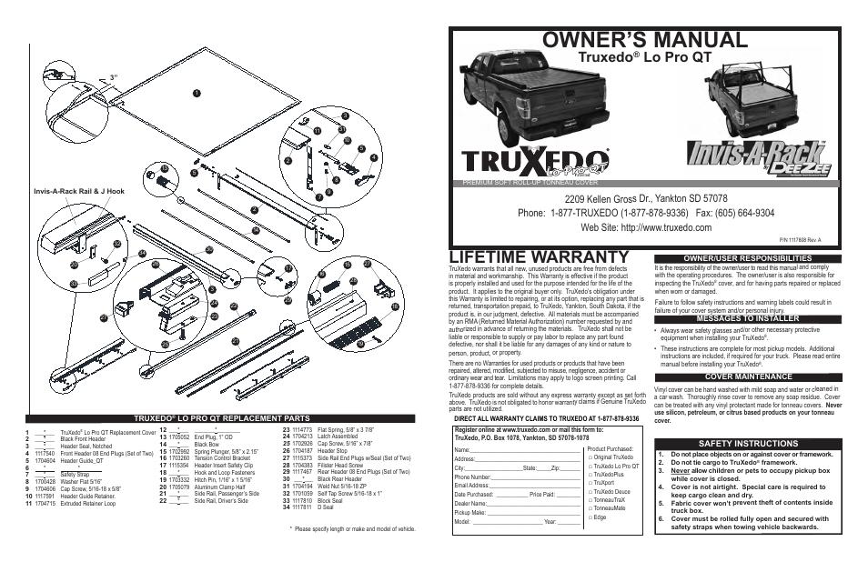 Truxedo Lo Pro Qt >> TruXedo Lo Pro QT/Invis-A-Rack User Manual | 4 pages