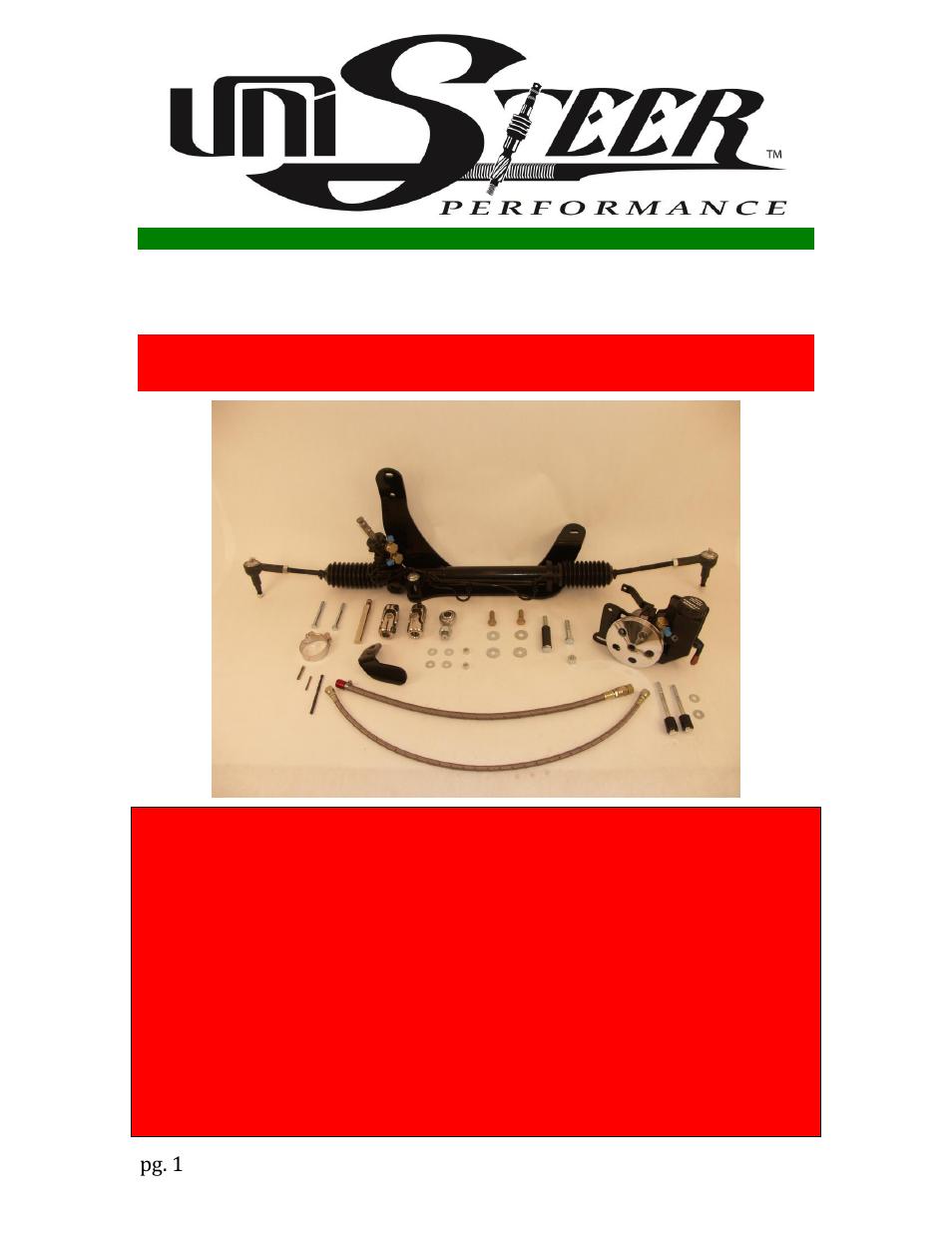 Unisteer 8010660-01 MOPAR E-Body Rack & Pinion Kit User Manual | 7 pages |  Also for: 8010670-01 MOPAR E-Body Rack & Pinion Kit