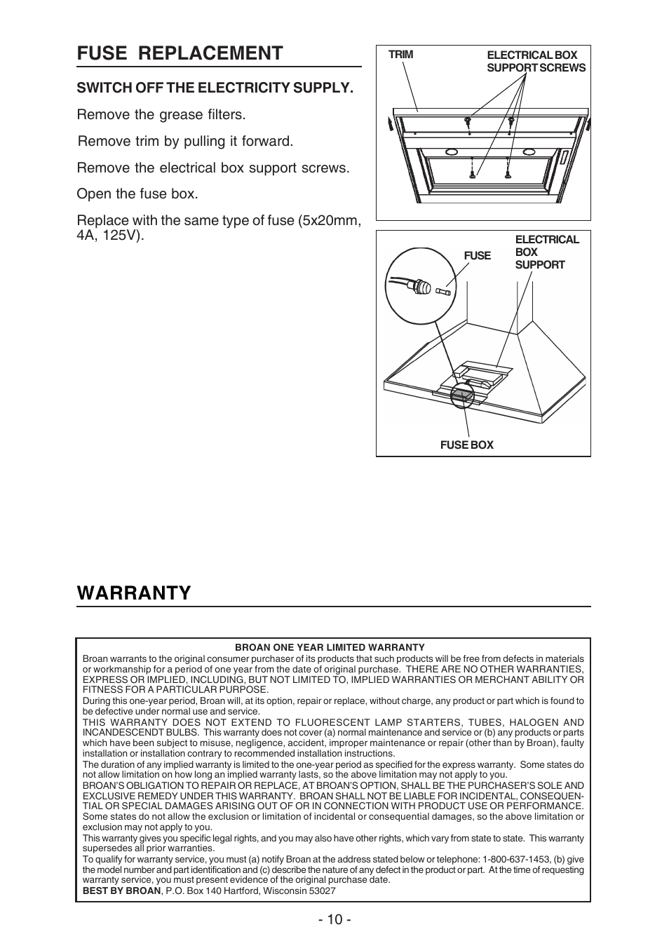 Fuse Replacement Warranty Best K42 User Manual Page 10 32 Box Removal