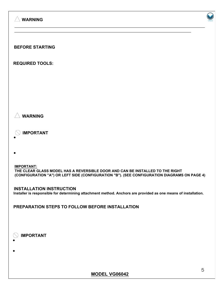Vigo Vg06042b User Manual Page 5 12