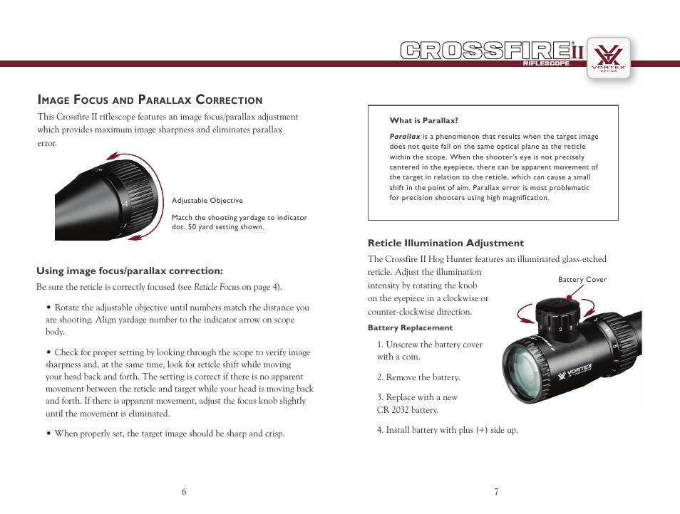Vortex Optics CROSSFIRE II 3-12X56 AO HOG HUNTER RIFLESCOPE User