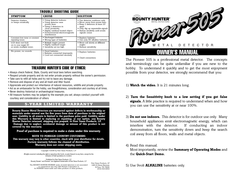 bounty hunter pioneer 505 user manual 16 pages rh manualsdir com pioneer deh-505 manual pioneer xv- dv 505 manual