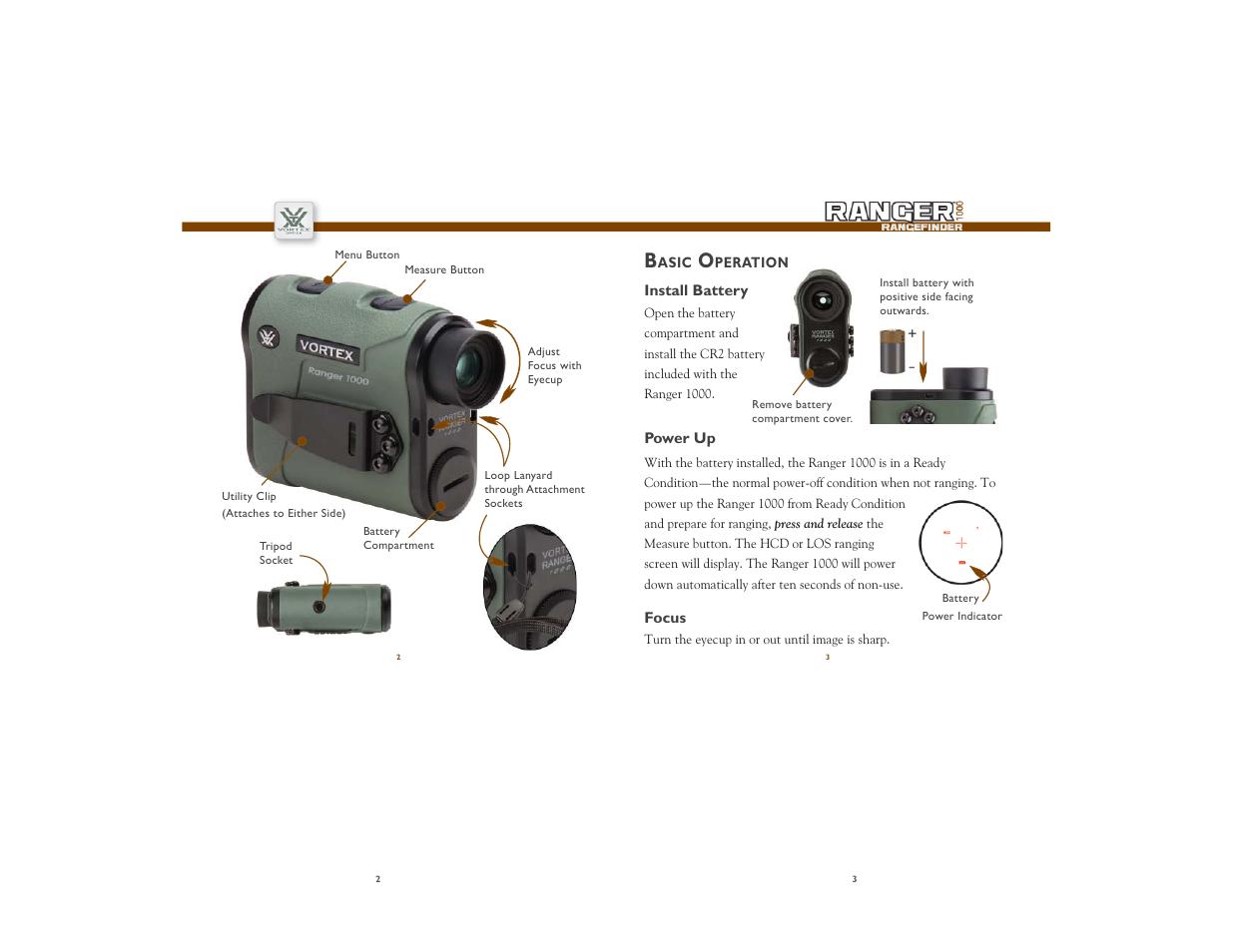 Vortex Optics RANGER 1000 RANGEFINDER WITH HCD User Manual